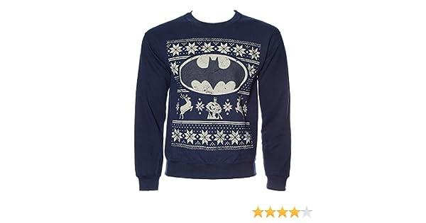 Official Batman Logo Fair Isle Nordic Navy Blue Christmas Jumper ...