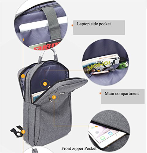 AOKE Wasserdichte Business Rucksack Totes mit großen Full Separate Multi Zipper Taschen für 15,6 Zoll Laptop Notebook Navy Blue Marine Bule1