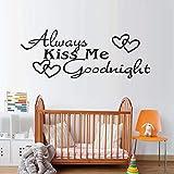 Immer Kuss Mich Gute Nacht Schöne Dekorative Abnehmbare Diy Wandaufkleber Vinyl Kunst Herzen Printe Zitate Abziehbilder Für Schlafzimmer 58X22CM
