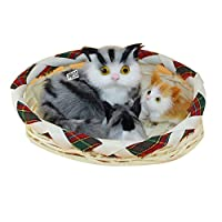 Good01 Cat and Basket Plush Toy Press Simulation Sound Animal Cute Doll Kids Xmas Gift
