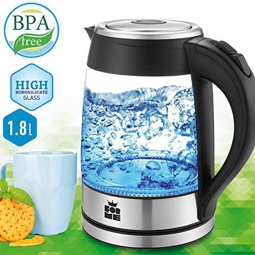 ForMe Glas Wasserkocher 1.8 L Blau LED Glaskessel Edelstahl Boden I Glaswasserkocher BPA Frei Teekessel (FKG-118)