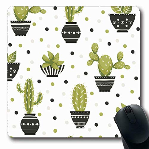 Luancrop Mousepads Zimmerpflanze-grüner Kaktus Nette Kaktus-Blumentopf-Schmetterlings-Retro Muster-Natur-botanische botanische rutschfeste Spiel-Mausunterlage Gummi-längliche Matte