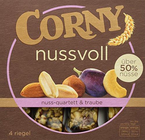 Preisvergleich Produktbild Corny Nussvoll Nuss-Quartett und Traube,  Nussriegel mit über 40% Nüsse,  12er Pack (12 x 96 g)