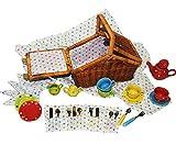 Unbekannt 33 TLG. Set Picknick Korb / Puppengeschirr - mit Porzellan / Keramik Geschirr - Spiel Küche Zubehör Deko - für Kinder Mädchen & Jungen - gepunktet - Polka Dot..