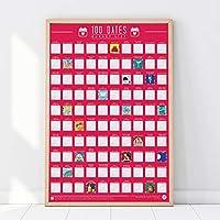 Gift Republic 100 Dates Bucket List Scratch Poster, Pink, A2