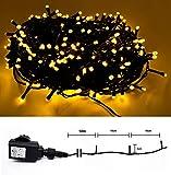 LED Lichterkette für Innen & Außen - 200 LED Warmweiss - grünes Kabel - 10m Zuleitung - Trafo IP44 DEKRA GS-geprüft