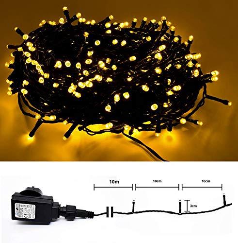 LED Lichterkette für Innen & Außen - 100 LED Warmweiss - grünes Kabel - 10m Zuleitung - Trafo IP44 DEKRA GS-geprüft
