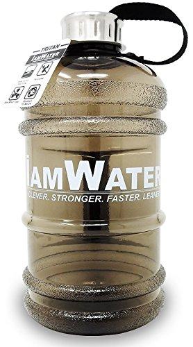 IamWater Wasserflasche 2,2 Liter - Robuste Tritanflasche mit Schraub- oder Klappverschluss - BPA-freie 2,2-Liter-Flasche für Radfahren, Fitness, Diät, Bodybuilding oder Büro - Optimale Wasserzufuhr mit einer Befüllung, schwarz