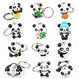 Remebe Panda Llavero, 12 Pcs Panda Keyring para Piñata, Fiesta Panda, Artículos de Fiesta de Cumpleaños Regalo, Panda Keyring Party Favor Llaveros Premios Regalos para Niños y Adultos