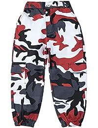 LOLANTA Pantalones Cargo de Camuflaje para niñas, Pantalones de Moda Streetwear de Cintura Alta para Adolescentes, Corte Holgado