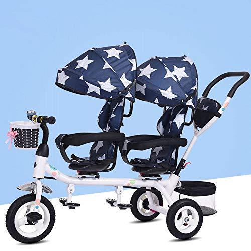 YR Zwillingsdreiradkinder Doppelsitz Fahrrad Zwillingskinderwagen 1-7 Jahre Altes Babyauto, Blauer Stern,1