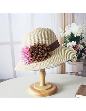 LVLIDAN Sombrero para el sol del verano Lady Anti-sol Gran cara ancha playa sombrero de paja beige