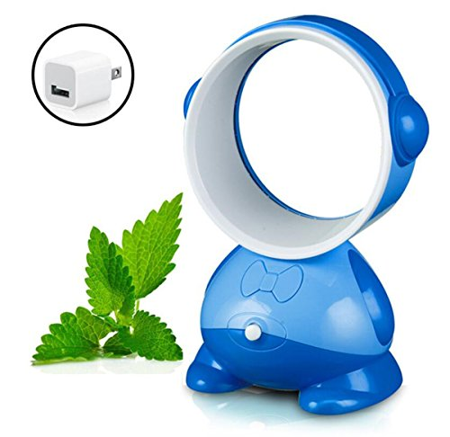 Royal Blue Fan (USB Leafless Fan Studentenwohnheim Desktop Mini Fan Neue Exotische Kreative Geschenk Fan Mute (Farbe : Royal Blue HMD+USB Converter Plug))