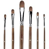 Hbsite Pinceaux de Peinture Filbert Set 6 PCS Professional Artist Oil Brush Anti-Shedding pour Acrylique, Aquarelle…