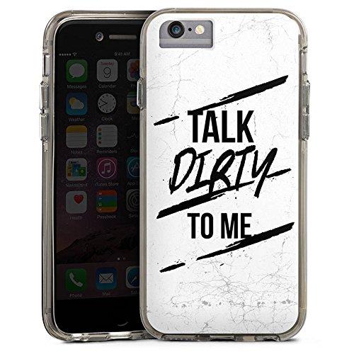 Apple iPhone X Bumper Hülle Bumper Case Glitzer Hülle Talk Dirty To Me Sprüche Fun Bumper Case transparent grau