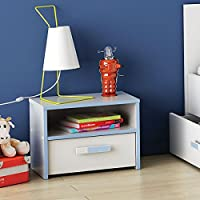 Nachtkommode weiß / blau Nachttisch Nachtkonsole Nachtschrank Nachtkästchen Nako Jungen Kinderzimmer Jugendzimmer preisvergleich bei kinderzimmerdekopreise.eu
