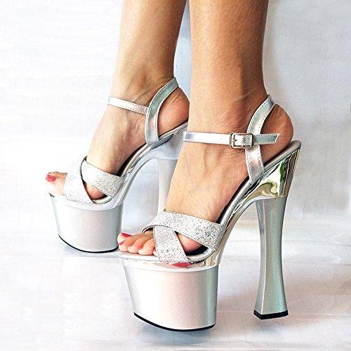 Silberne Hochzeit Heels (Ajunr Modische/Arbeit/Damen/Sandaletten sexy grob schuhe nachtclub 18cm super-high-heels hochzeit schuhe 38 die silbernen)