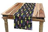 ABAKUHAUS Surfbrett Tischläufer, Memphis 80er Jahre Stil, Esszimmer Küche Rechteckiger Dekorativer Tischläufer, 40 x 180 cm, Mehrfarbig