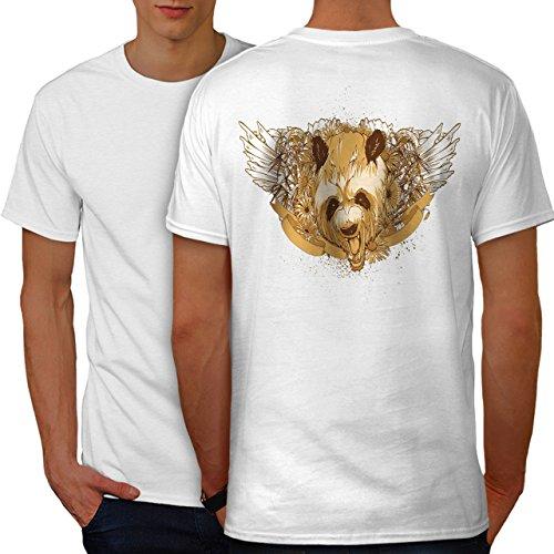 wellcoda Panda Kopf Flügel Tier Männer 2XL Ringer T-Shirt (Flügel Ringer T-shirt)