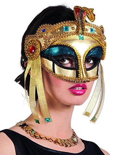 Este antifaz de reina egipcia para mujer cubre la parte superior hasta la nariz.Es de cartón y está cubierta de tejido dorado con piedras multicolores y cintas satinadas negras.No reveles tu identidad con esta máscara y conviértete en reina egipcia m...