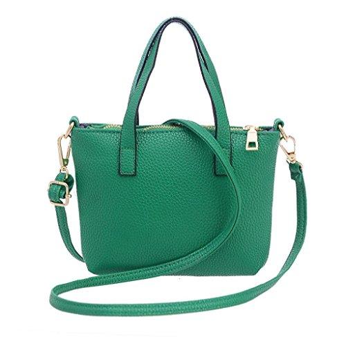 SW Donne Moda Borsa Spalla Grande Tote Ladies Borsetta Portafoglio (Nero) Verde