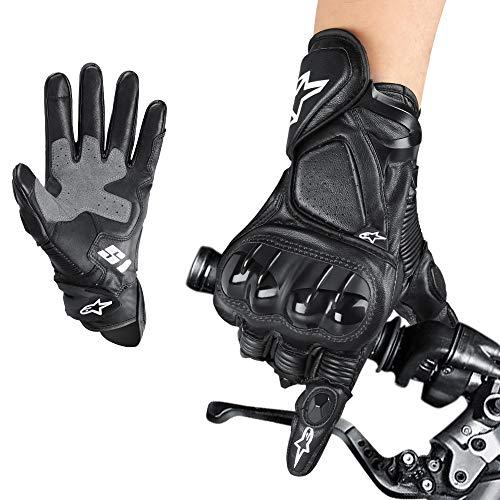Aolead Guanti da Moto, Pelle Premium Guanti Motocross Pieno Dita con Touchscreen e Hard Knuckle Per Motocicletta Ciclismo Camping Outdoor Sportivi(XL)