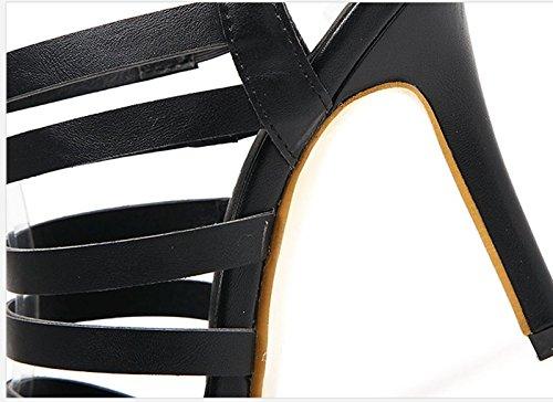 Khskx Combinazione In Tacchi Sandali 8 Nera A Multa Con Sottili Trentacinque Pelle Di Una 5cm rTqrgnZ
