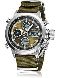 8ff9a9c2d62 OHSEN Military Army Type Green Analogue Digital Quartz Nylon Band Wrist  Watch