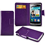 (Purple) Samsung S8530 Wave II Super dünne Kunstleder Saugnapf Wallet Case Hülle mit Credit / Debit Card SlotsBy Spyrox