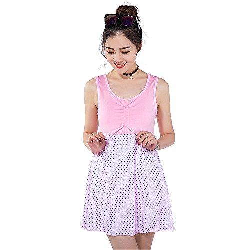 COCO clothing Plus Size Rundausschnitt ZweiteiligBadeanzüge Röckchen Tankini Set Frauen Patchwork Loose Schwimmanzug (Plus Kostüme Size Frozen)