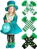Zhanmai 3 Paar St. Patrick's Day Beinlinge Shamrock Ohne Fuß Socken Party Kostüm Zubehör für Baby Kleinkinder (Stil Set 1)