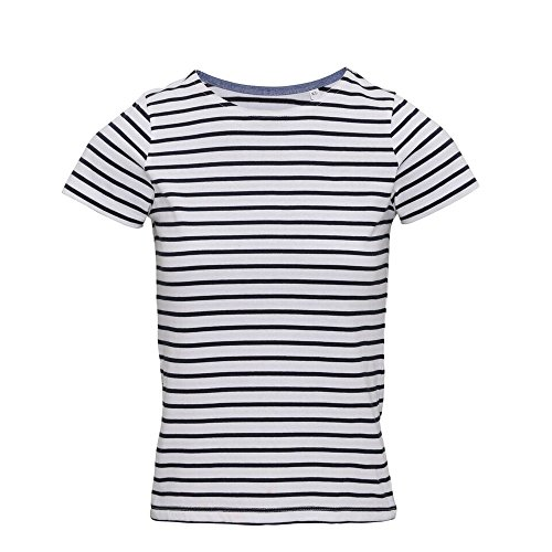 Asquith & Fox Women's Marinière Coastal Short Sleeve Tee Polo, Multicolore (White/Navy 000), 42 (Taglia Produttore: Small) Donna