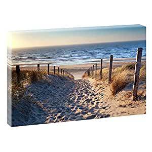 Weg zum Nordseestrand Bilder auf Leinwand Poster Wandbild Poster Fotografie | Wandbild im XXL Format | Kunstdruck in 100 cm x 70 cm | Bild Strand Dünen Meer Nordsee (Farbig)