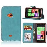 Nokia Lumia 625 Funda,[FQY-TEC][Azul][Retro mate][Cuero Pu]y[TPU]Cartera,Ranura para...