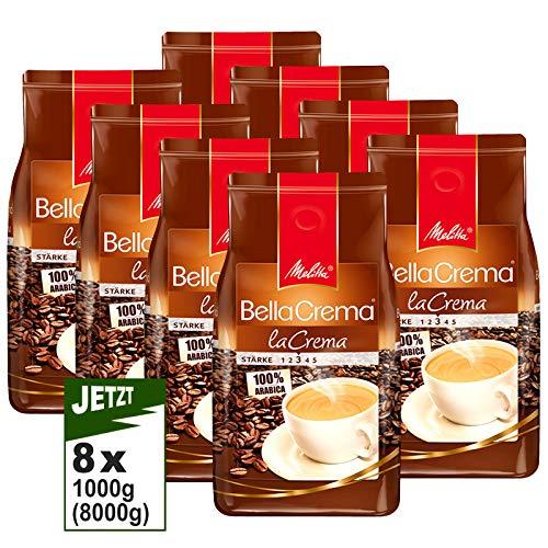Melitta BellaCrema LaCrema, Kaffeebohnen 8x 1000g (8000g) - 100% Arabica