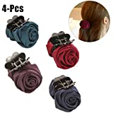 4PCS Womens Jaw Clip Fashion Elegant Stylish Rose Shape Ponytail Holder Claw Clip Hair Clip Hair Accessories For...