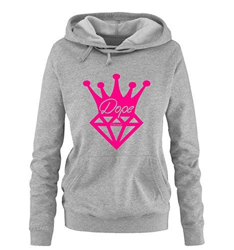 Dope Diamond Crown - Einfarbig - dope diamond Damen Hoodie Grau / Pink Gr. M Diamond-pullover Für Frauen