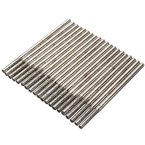 DyNamic 20Pcs 2.35Mm Shank Diamond Coated Drill Bits Glass Tile Ceramic Marble Rotary Tool Set