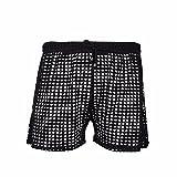 TiaoBug Boxer Homme Sexy Slip Bikini Sous-vêtement Lingerie Transparent Short Salon Ajouré Plage Beache Noir L