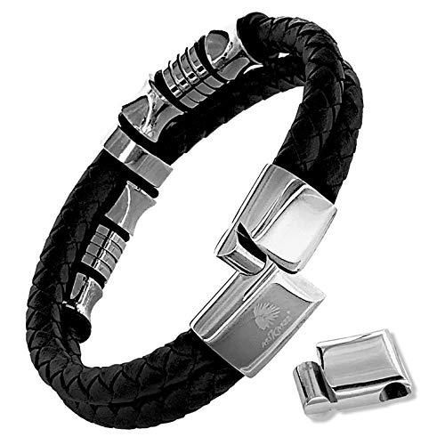 Bracciale uomo acciaio inox vera pelle premium con prolunga magnetica chiusura regolabile nero argento cuoio intrecciato elegante braccialetto uomo con chiusure magnetiche idea regalo
