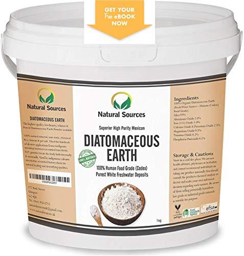 Diatomaceous Earth by Natural SourcesTM 1kg - Terra Diatomacea/Farina Fossile (Commestibile) di qualità superiore, fonte di acqua dolce. molteplici usi per te, casa e animali. Ebook gratuito incluso