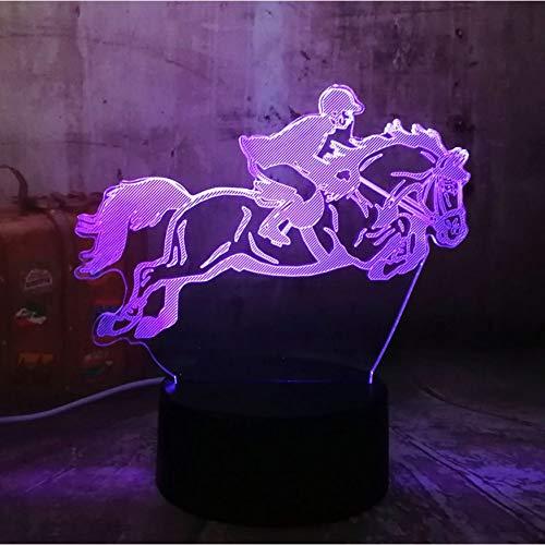 Reiten Pferd 7 Farbwechsel 3D Visuelle Led Nachtlicht Kinder Touch Usb Tischlampe Baby Sleeping Decor Sport Geschenke -
