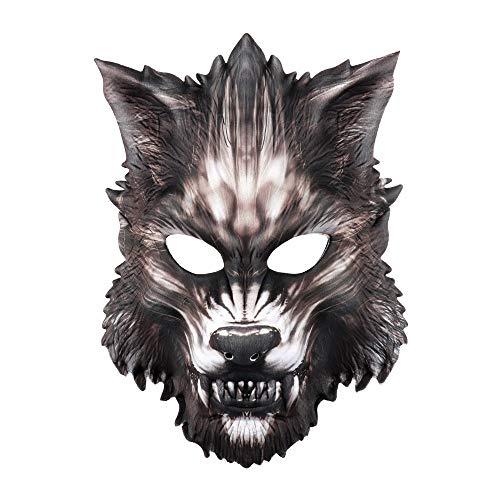 CHNA MA Halloween Karneval Party Cosplay mittelalterliche Maskerade Eva halbes Gesicht Tier Wolf Maske (Maske Halloween Wolf Uk)