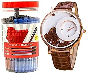 Pappi Boss Classic Designer Brown Movable Beads Wrist Watch For Girls, Women With Nataraj GCM Blue Ink Use & Throw Ball Pens (Pack Of 100 Jar)-Combo