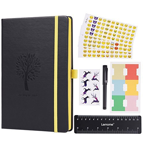 Dotted Bullet Journal - Lemome Dotted Numbered Pages Hardcover A5 Notebook with Pen Holder - Premium Thick Paper + Bonus Gifts (Black)