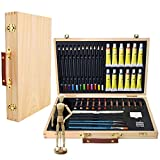 Artina Leonardo 45 pcs Artist Set Art Storage Case with Supplies for Drawing Sketching Painting Acrylic Pastels Brushes