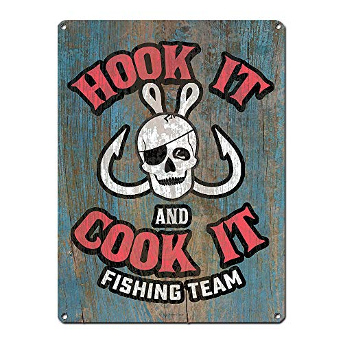 Angeln Schild ~ Haken ES & Cook ES Fischen Team ~ Deep Sea, Sport, See, Fly Angeln gestaltet Decor & Gifts für den Fisherman ~ 30,5x 40,6cm 24-gauge Stahl ~ USA Made