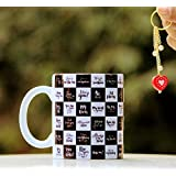Satyam Kraft Checks Design Love Mug With Free Key Chain For Valentine Gifts For Your Love Gift For Boyfriend, Girlfriend, Husband, Wife, Fiance, Spouse,And Some Special Moments Birthday Gifts, Anniversary Gifts,Valentine Day Gifts
