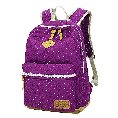 Zaino Scuola per Ragazza Donna Elementare Bambina Zainetto Media KHDZ Tela Zaini Casual Moda Backpack Portatile Sacchetti 15,6 inch Laptop Zainetti, Corsa Pacchetto con Pizzo Pois (Porpora)
