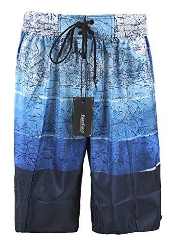 Herren Modische Badeshorts, Männer Coole Schwimmhose, Basketball Hose, Strandhose Große Größen Badehose Männer Blau Grau Übergrößen 5XL 6XL Blau2